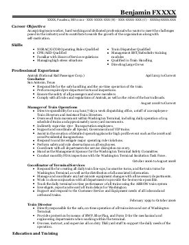 Railroad Resume Summary by 33 Railroad Resume Exles In Maryland Livecareer