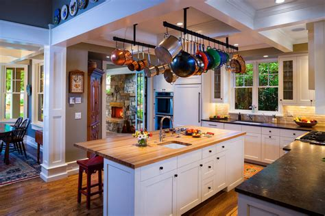 kitchen island with hanging pot rack awesome kitchen compositions with hanging pot rack ideas