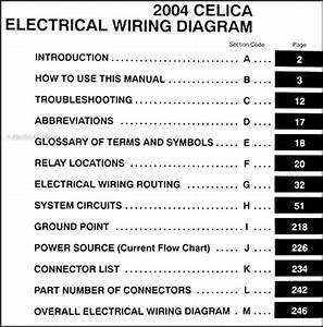 2004 Toyota Celica Wiring Diagram Manual Original