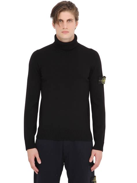 mens wool turtleneck sweater lyst island wool blend turtleneck sweater in black