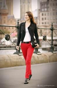 CrashingRED Gentle rock chic with red jeans - CrashingRED