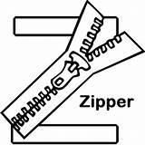 Zipper Coloring Template Colouring Letter sketch template