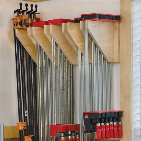 wall mounted clamp rack woodworking plan  woodcraft