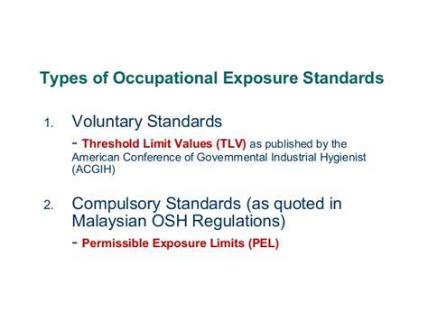 4 occupational health standards dosh