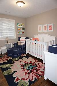 Navy, And, Coral, Nursery, For, Sweet, Maggie