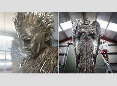 Artist turns thousands of knives into an angelic sculpture