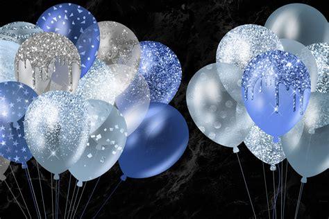Blue Glitter Balloons Clipart By Digital Curio ...
