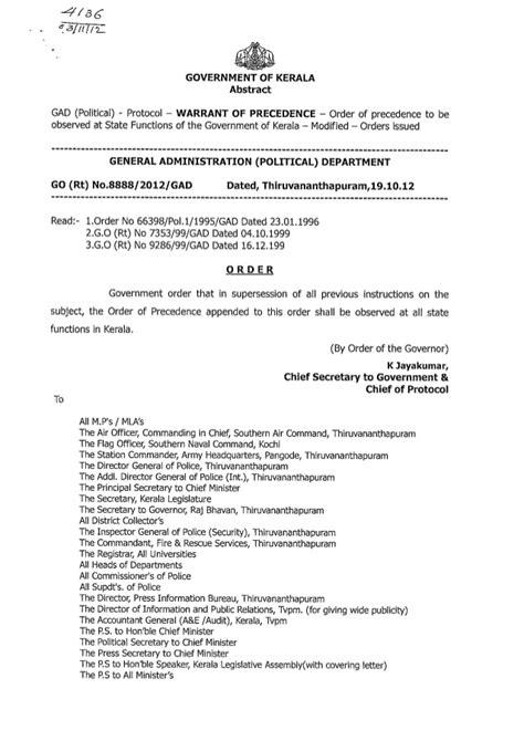 order  precedence kerala protocol