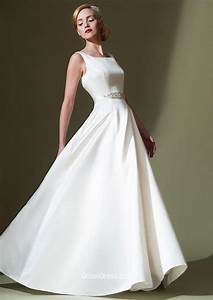 sleeveless a line ivory boat neck simple floor length With boat neck wedding dress