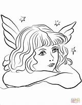 Coloring Angel Pages Pensive Printable Colorings sketch template