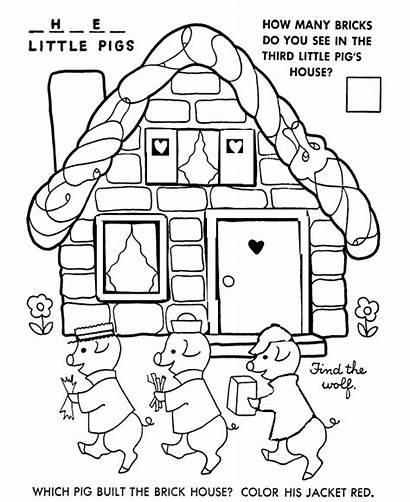 Coloring Pigs Three Pages Nursery Rhymes Story