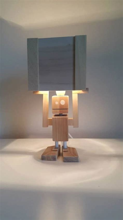 isiah robot table lamp reclaimed wood  craftyandcouk