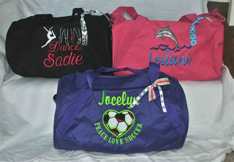 custom embroidered personalized sports duffle gymdance