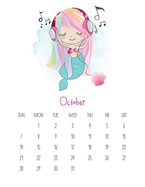 printable kawaii mermaid calendar planner calendario
