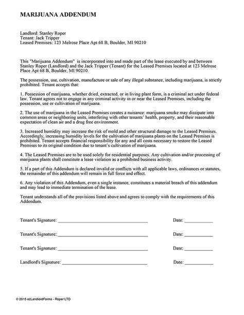 marijuana addendum ez landlord forms
