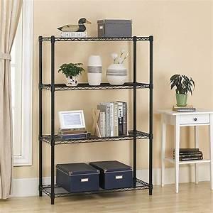 urhomepro, 4, tier, black, metal, shelves, , heavy, duty, height, adjustable, kitchen, storage, shelves, , wire