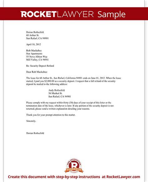 tenants security deposit refund letter template  sample