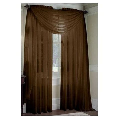 monagifts brown choclate scarf voile window panel solid