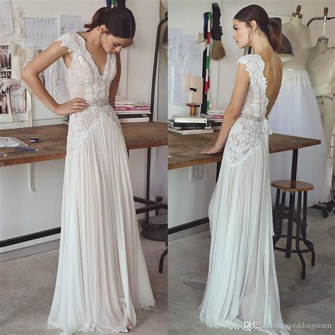 2017 Lihi Hod Bohemian Lace Wedding Dresses Deep V Neck A