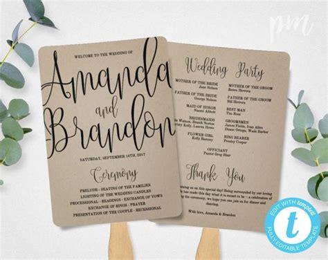 wedding program fan template calligraphy script printable