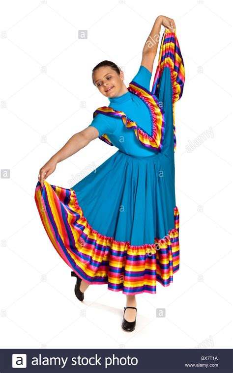 Young girl in a traditional Mexican national dance costume Stock Photo 33363942 - Alamy