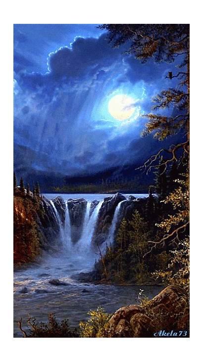 Moon Amazing Waterfall Painting Waterfalls Wallpapers Scenery