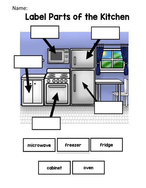 label parts   kitchen worksheet