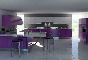 cocinas modernas en color violeta y purpura With kitchen cabinets lowes with modern purple wall art