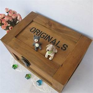 zakka wood storage box large lockable storage box postcard With letter collection box