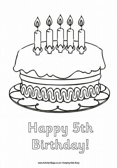 Birthday Happy Colouring 5th Coloring Pages Birthdays