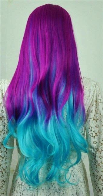 Diy Turquoise Ombre Hair Dye For Long Purple Hair Girls