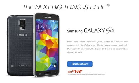samsung galaxy s5 big samsung 39 s galaxy s5 deal now available for just 99