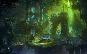 Fantasy temple jungle spooky skull skulls dark magic ruins