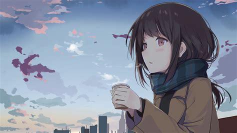 instrumental fictional character girl anime sky