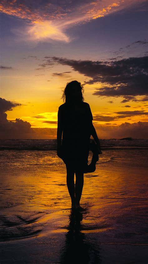 wallpaper silhouette woman girl beach sunset