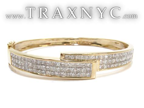 Yellow Gold Princess Cut Invisible Diamond Bangle Bracelet. Solitaire Diamond Bands. Wedding Day Bracelet. Art Earrings. Baguette Diamond. Ankle Bangle. 5ct Sapphire. Emeral Rings. Beaded Bands