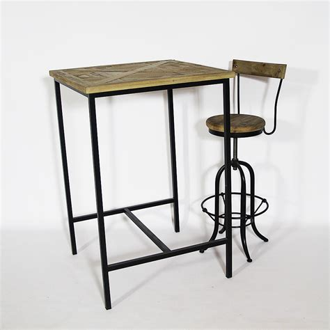 tabouret pour ilot central cuisine mange debout industrielle bois et métal made in meubles