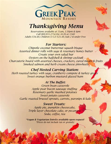 menu for thanksgiving thanksgiving menu 2017 greek peak mountain resort