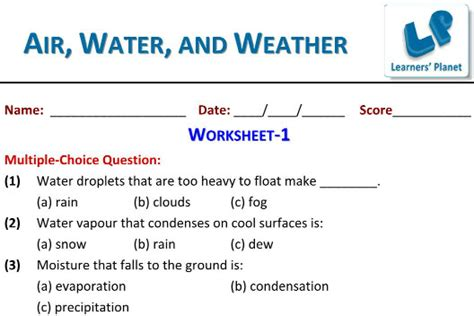 evs air water weather  worksheets test papers