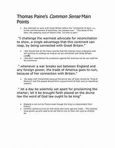 Thomas Paine U0026 39 S Common Sense Main Points