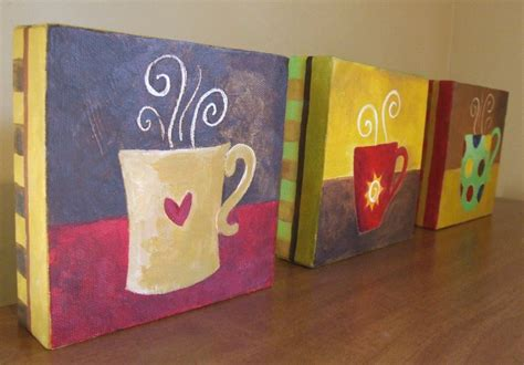 Many artists learn paint pouring along with pour painting (also is the act of mixing acrylic paints with a flow enhancer (like floetrol) and pouring it onto a surface to create abstract swirls and designs. Coffee Cups - Set of Three 5x5 Original Acrylic Canvas ...