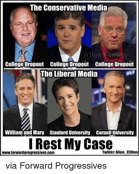 College Liberal Meme - the conservative media allen college dropout college dropout college dropout the liberal media