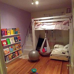 Kids Space: Loft bed, bunk bed build with hanging toddler ...