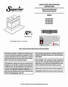 Astria Inglenook Superior Wrt40 Fireplace Owner U0026 39 S Manual