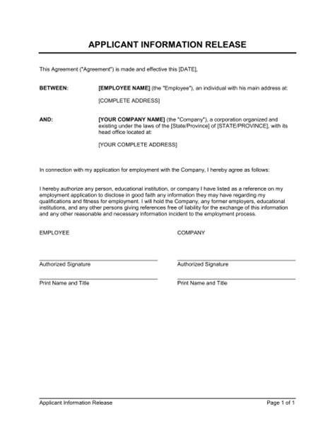 release  information form template beepmunk