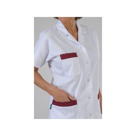 tablier de cuisine professionnel personnalisé tunique médicale parement bordeaux label blouse