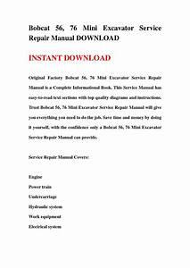 Bobcat 56  76 Mini Excavator Service Repair Manual