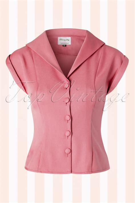 50s blouse 50s master sleeve blouse in dusty pink
