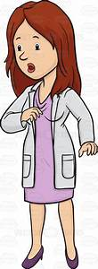 Cartoon Clipart: Lady Doctor Looking Surprised While Standing