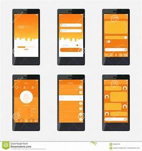 Template Mobile Application Interface Design Stock Vector